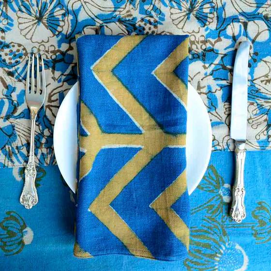 blue gold bohemian napkins