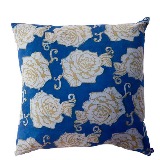 indigo block printed throw pillow