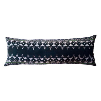 extra long block printed lumbar pillow