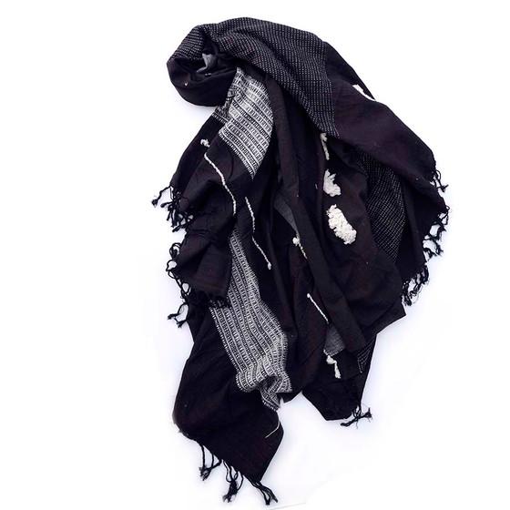 Black textured organic cotton throw