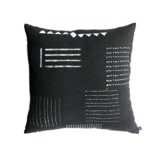 22 inch black and wihite organic cotton pillow