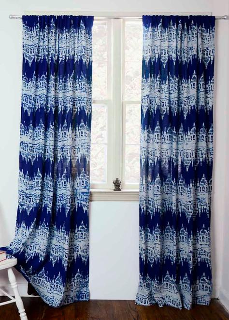 Navy Blue IKAT Curtains   Printed Ikat Curtains | Ichcha