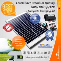 Solar Battery Charging Kit - 20W Solar Panel + 10Amp EcoOnline Controller/Regulator