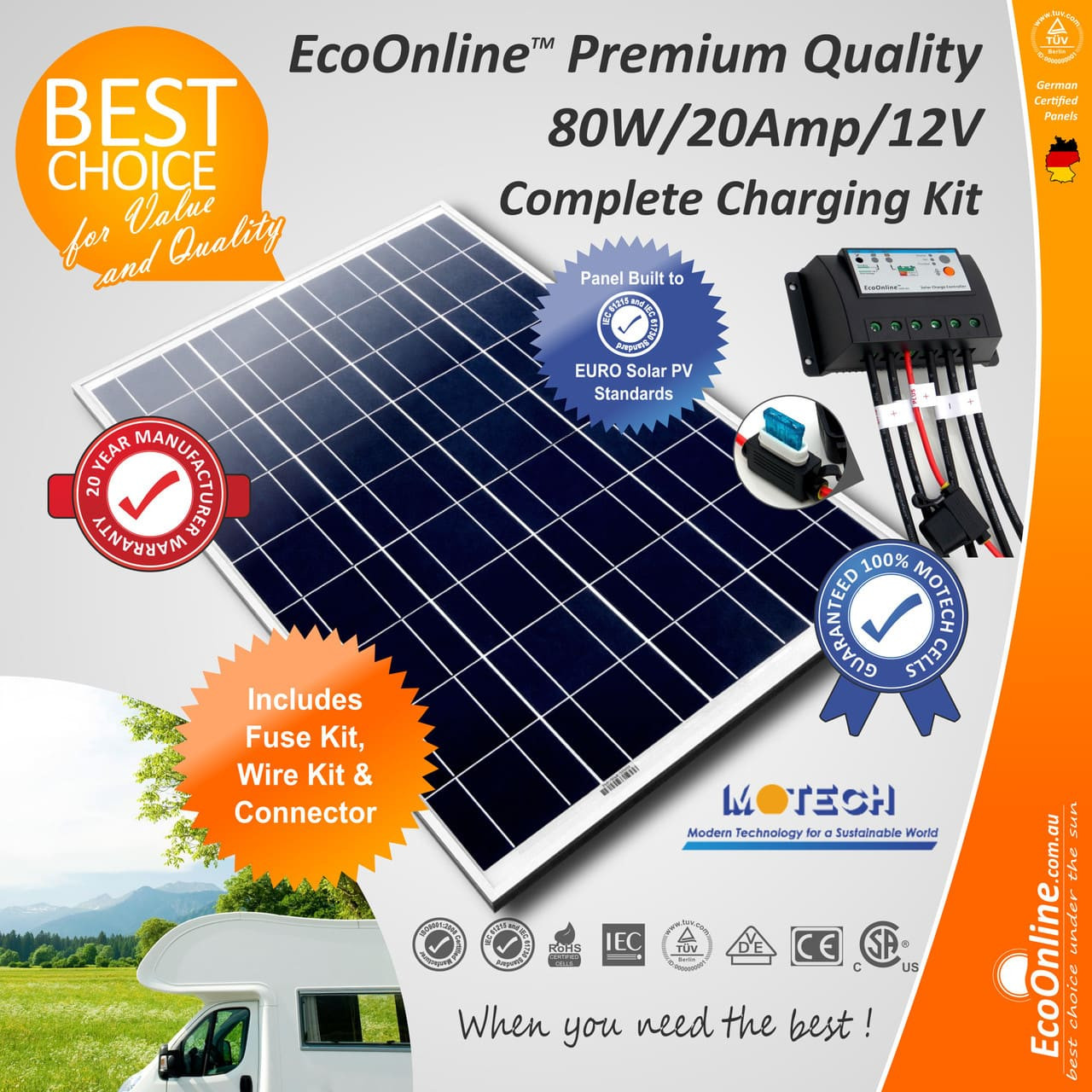 Solar Battery Charging Kit 80w Panel 20amp Ecoonline Image 1