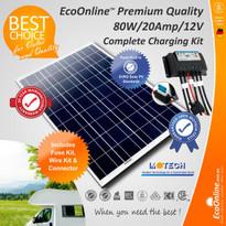 Solar Battery Charging Kit - 80W Solar Panel + 20Amp EcoOnline Controller/Regulator