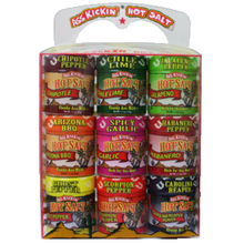 This gift pack includes nine 1.1oz. different salts to  flavor your meals. They range from mild, Chili Lime, BBQ, to hot, Ghost, Carolina Reaper