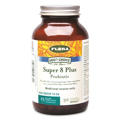 When intestinal balance is disrupted by modern diet, chlorinated water, stress, or medications, a yeast overgrowth may occur, causing symptoms like fatigue, weakened immune function, and problem skin. Super 8 Probiotic Blend delivers 25 billion viable cells per capsule at date of expiry. Udo's Choice Probiotic Blends help support the growth of a healthy natural microflora. These friendly bacteria are necessary for limiting the proliferation of undesirable bacteria, fortifying the immune system, while helping the body carry out the digestive process as nature intended.  Adults: 1-3 capsules daily after meals or on full stomach