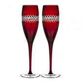 WATERFORD JOHN ROCHA RED CUT FLUTE, PAIR