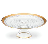MICHAEL WAINWRIGHT TRURO GOLD CAKE PLATE WITH STAND