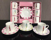 Fashion Ladies Demitasse cup and saucer set of 6