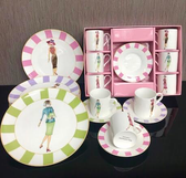 Fashion Ladies Demitasse c/s and dessert plates 18 pc set