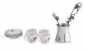 Black Orchid Coffee Pot & Demistasse Set