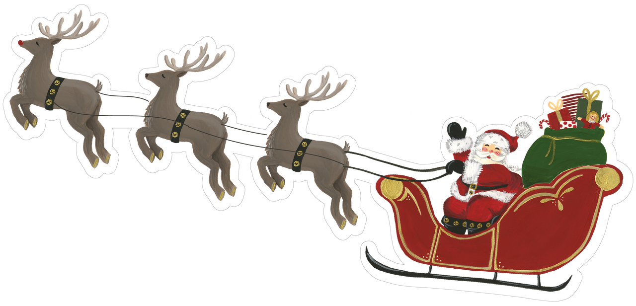 santa sleigh with reindeer print cut file snap click supply co