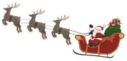 Santa Sleigh with Reindeer Print & Cut File