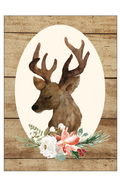 Framed Deer Portrait Print & Cut File