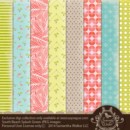 This pack features 8 decorative papers which feature flamingos, palm trees, leaves, stripes, and more!