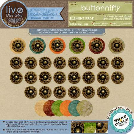 liv.edesigns Buttonnifty - Alpha-Labeled Buttons with Burlap Bits