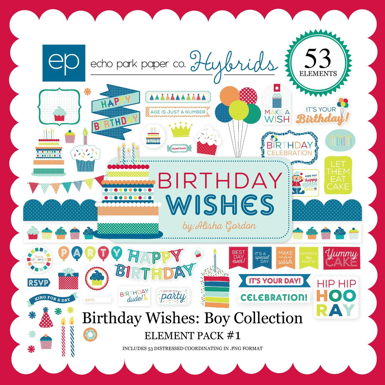 birthday wishes boy element pack 1 snap click supply co
