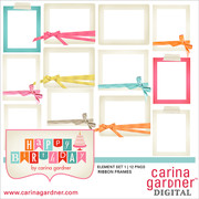 Happy Birthday Element Pack 1 Ribbon Frames