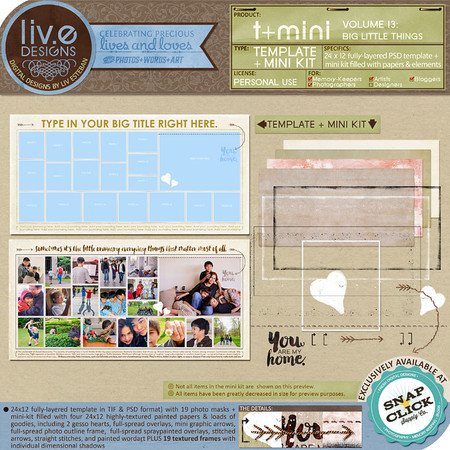 liv.edesigns T+Mini Vol. 13 - Big Little Things (A Double-Page Template and Mini Kit in one!)