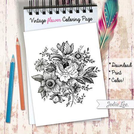 Vintage Floral Coloring Page - download, print, color!