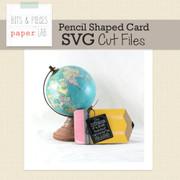Pencil Shaped Card SVG Cut File