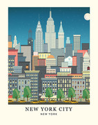 New York Skyline Art Print - 11x14
