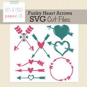 Funky Heart Arrows Cut Files