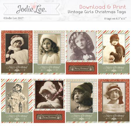Printable Christmas Tags - Vintage Girls