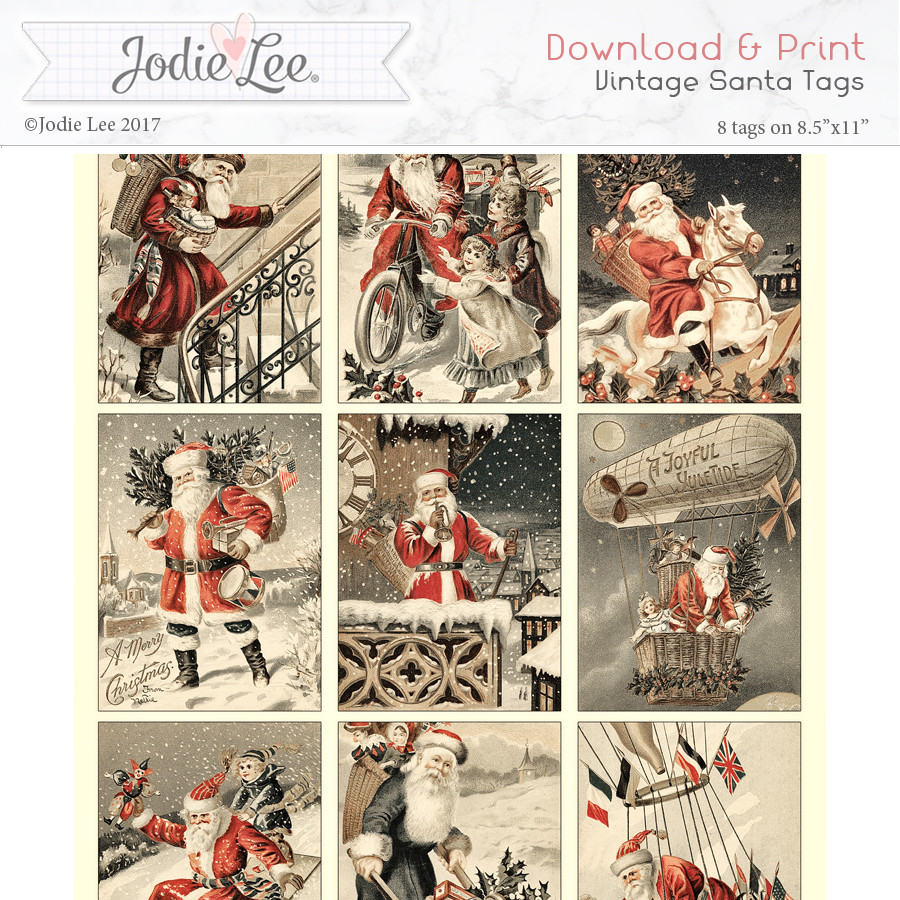 printable christmas tags santa retro