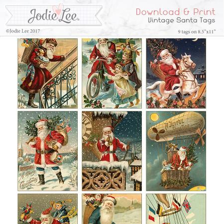 Printable Christmas Tags - Vintage Santa
