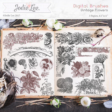 Digital Brushes - Vintage Flowers