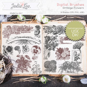 Digital Brushes - Vintage Flowers - Commercial Use