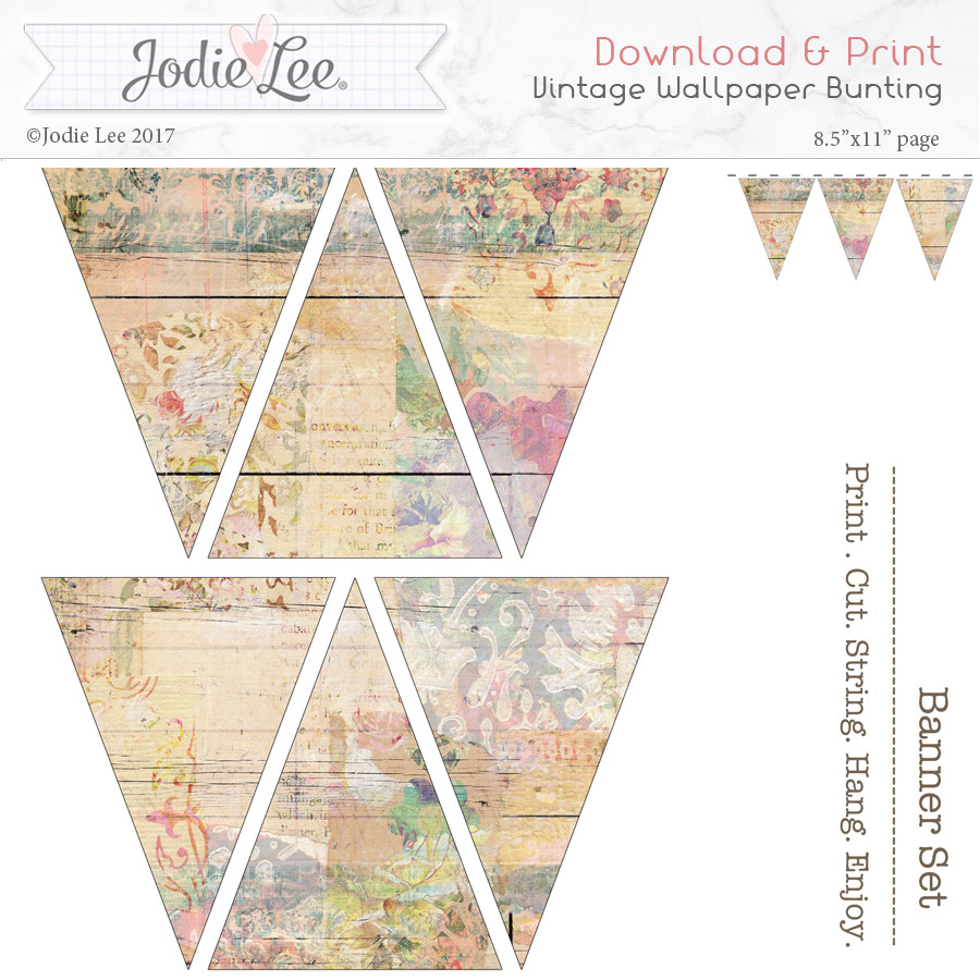 printable christmas bunting - shabby chic vintage wallpaper - snap