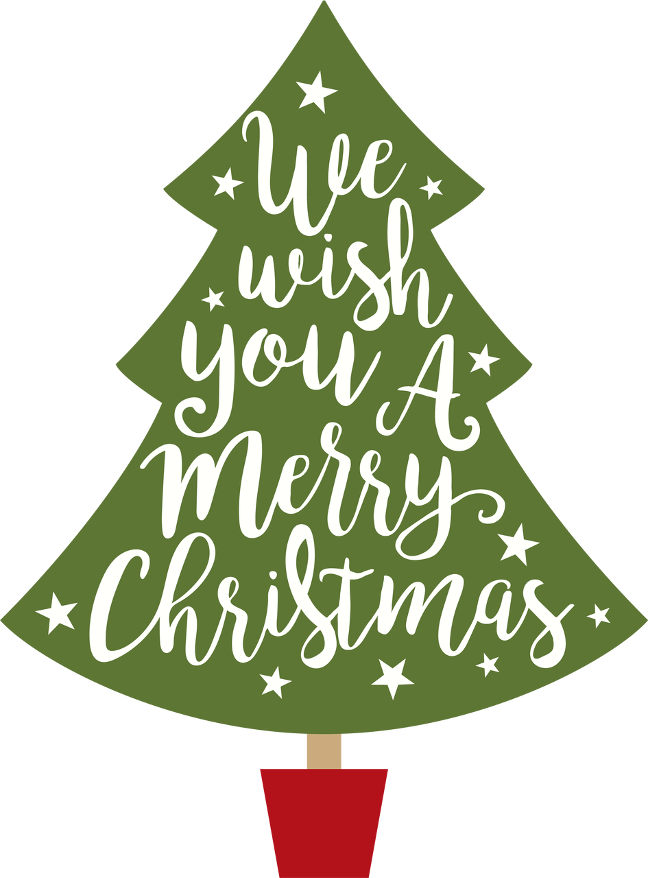 Wish You A Merry Christmas Tree SVG Cut File - Snap Click Supply Co.