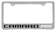 Cheverolet Camaro RS (WHITE) License Plate Frame - 5305NWO-RSW-BK