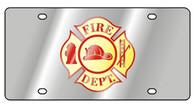 Fire Department Cross License Plate - 1950-1