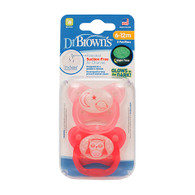 Dr Brown's Orthodontic Glow in the Dark Soother 6-12 months Twin Pk Pink