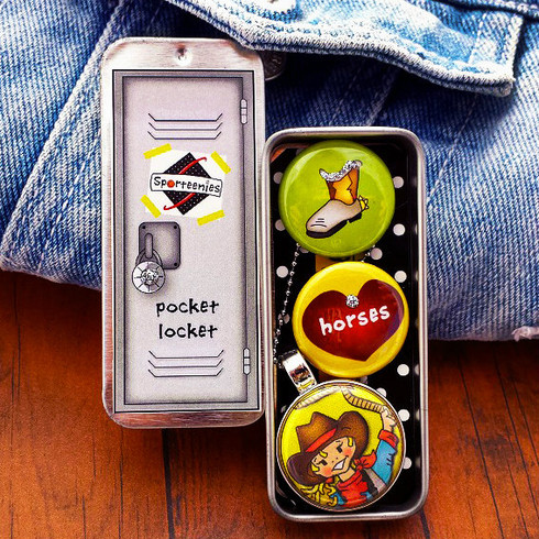 "Our Sporteenie Pocket-Locket holds your most favorite secret treasures. Made of light metal, its dimensions are 3"" x 1"" x 1/2""...  the perfect size  to carry in your pocket. The cool top slides open to reveal a set of 3 custom magnets of your favorite Sporteenie. The locket is made of  high quality nickel-free silver tone that becomes an interchangeable magnetic pendant with 7mm bail. It's up to you to choose which button magnet you want to wear! Sporteenie Pocket-Lockets are fun, versatile, and a practical jewelry accessory."