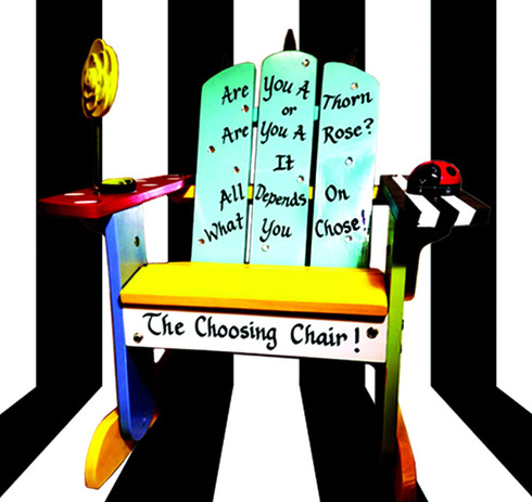"There is only one ""Choosing Chair"" and it is up to you as to when you get a ""time-out"". It's all about what you choose...Forgot to listen? Misbehaved? Didn't obey the rules? Well, if that is what you chose, then this chair is for you. Equipped with an adorable ladybug timer and a rose mirror, the Sporteeenie Choosing Chair is a one of a kind place where kids can sit and reflect on who they are and what they chose. Hand-painted in bright, happy colors, this wooden Adirondack chair provides the perfect place for a ""time-out""."