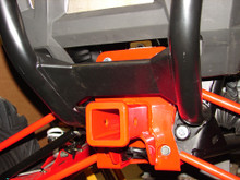Hitch (Red) installed with Polaris rear bumper