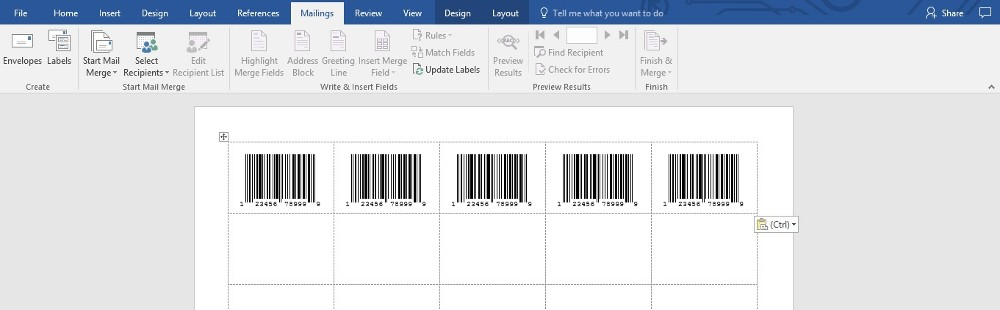 UPC Barcodes Using Compulabel # 310151 Template in MS Word