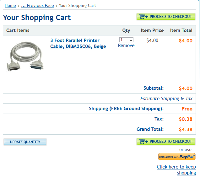 cart checkout example