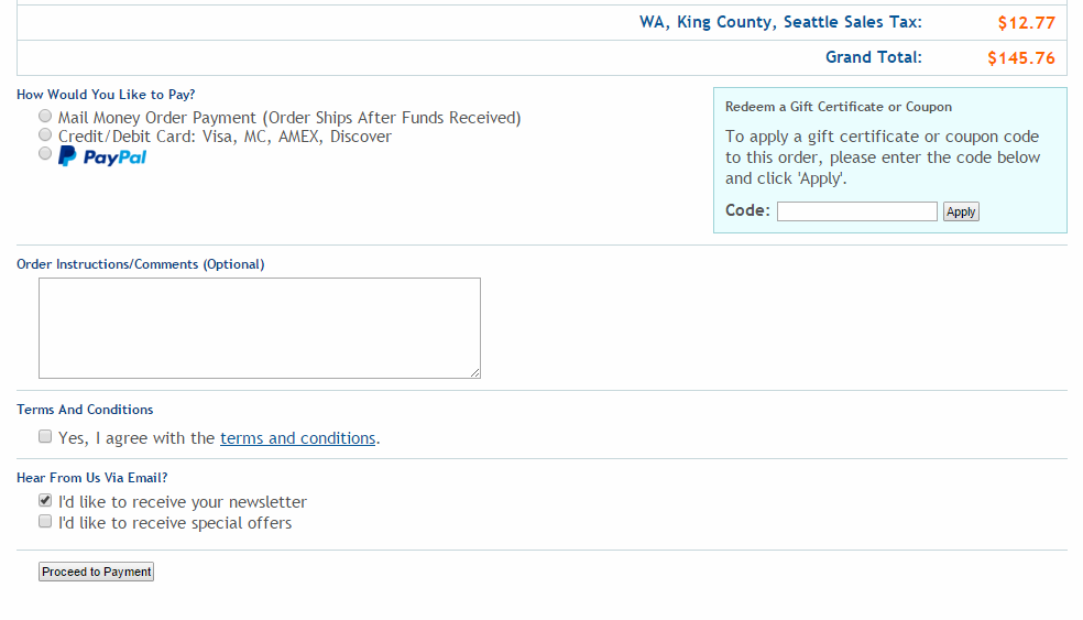 cart payment example