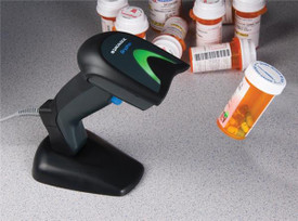 Datalogic Gryphon 2D Barcode Scanner.  This scanner comes with the permanent base shown in photo.