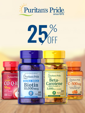 Image offering 25% off on Puritan's Pride products