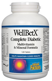 Natural Factors WellBetX Complete Diabetic Multi Vitamin & Mineral Formula (120 Tabs)