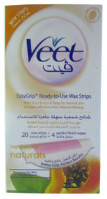 Veet Wax Strips Shea butter With Papaya Extract For Normal Skin 20 Strips
