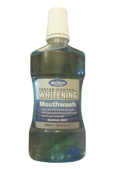 Active Oral Care Tarter Control Whitening Mouthwash Glacial Mint Front