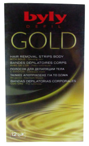 Byly Depil Gold Hair Removal Strips Body 12 Pieces Pack (Front)